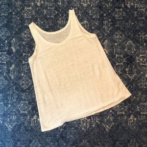 Eileen Fisher White 100% Linen Scoop Neck Tank Top
